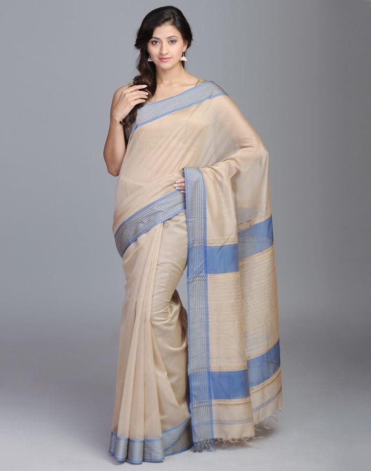 Silk Cotton Maheshwari Woven Dus Sari
