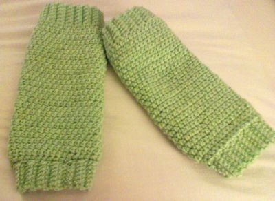I crocheted leg warmers for my daughter. Free pattern on my Blog. :-)