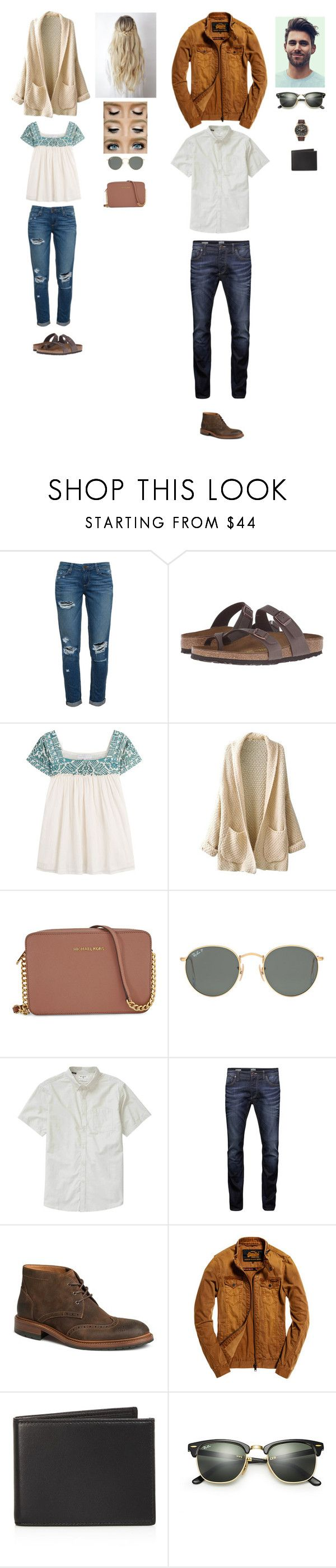 """""""Untitled #2129"""" by raftergirl ❤ liked on Polyvore featuring Paige Denim, Birkenstock, Christophe Sauvat, Michael Kors, Ray-Ban, Billabong, Jack & Jones, Trask, Superdry and The Men's Store"""