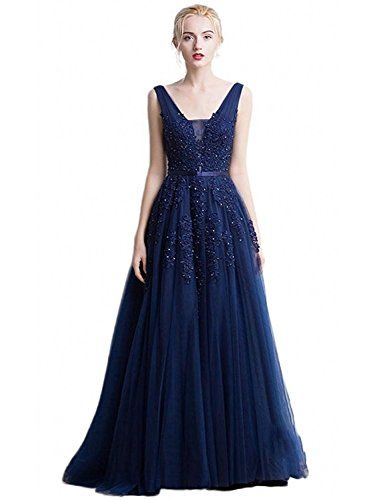 191b8e817df25 Babyonline Women's Double V-neck Tulle Appliques Long Evening Cocktail Gowns  | Evening Gowns | Pinterest | Semi formal dresses, Wedding party dresses  and ...