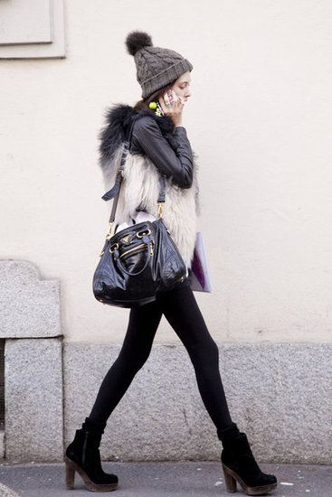 Milan Fashion Week Fall 2012: Models Off Duty, Street Style, Winter Looks, Winter Outfit, Leather Jackets, Faux Fur Vest, Leather Bags, Winter Chic, Street Chic