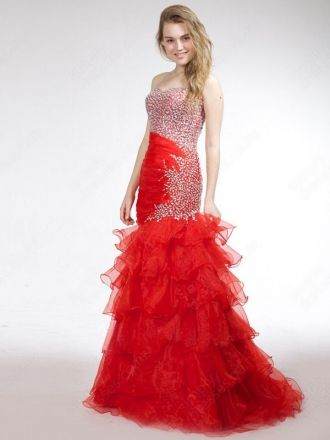 Trumpet/Mermaid Sweetheart Organza Floor-length Red Beading  Evening Dress