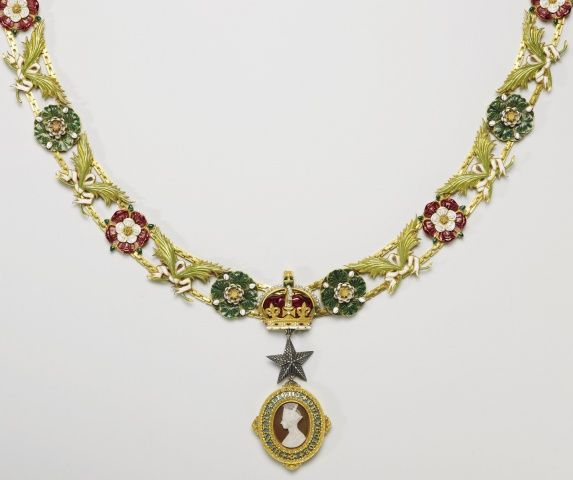 Collar of the Order of the Star of India  c. 1861 Design by Prince Albert, Prince Consort, consort of Victoria, Queen of the United Kingdom (1819-61)