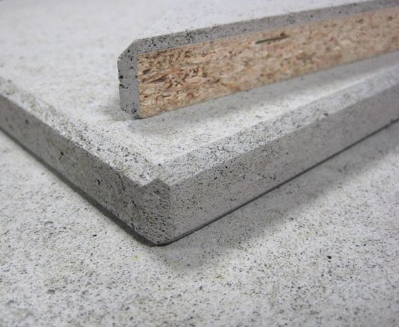 Composite material, which looks like solid concrete, but in fact, consists of melamine-resin-coated chipboard coated with 3mm of concrete.