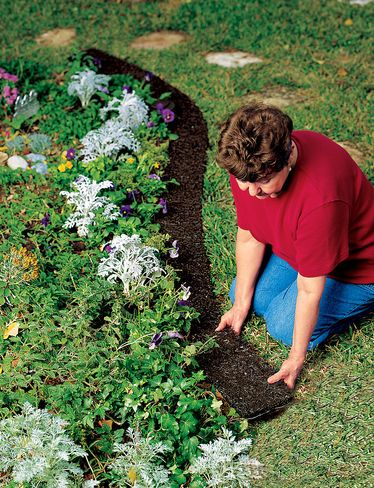 Create a Neat Border Edge with Recycled Rubber Mulch  Long-lasting, scatter-proof mulch edging always looks crisp and neat  Use around flowerbeds and walkways  Suppresses weeds better than bark mulch and lasts for years