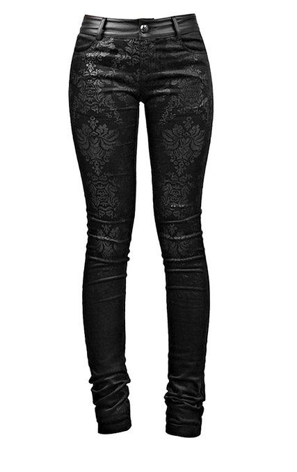 Blooms Punk Women Gothic Printed Tight Stretch Pants (X-Small)