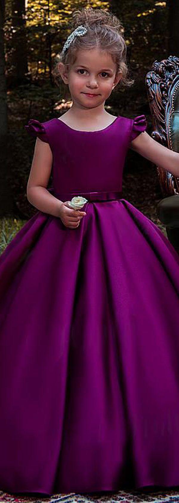 Sweet Satin Scoop Neckline Cap Sleeves Floor-length Ball Gown Flower Girl Dresses With Belt & Bowknot