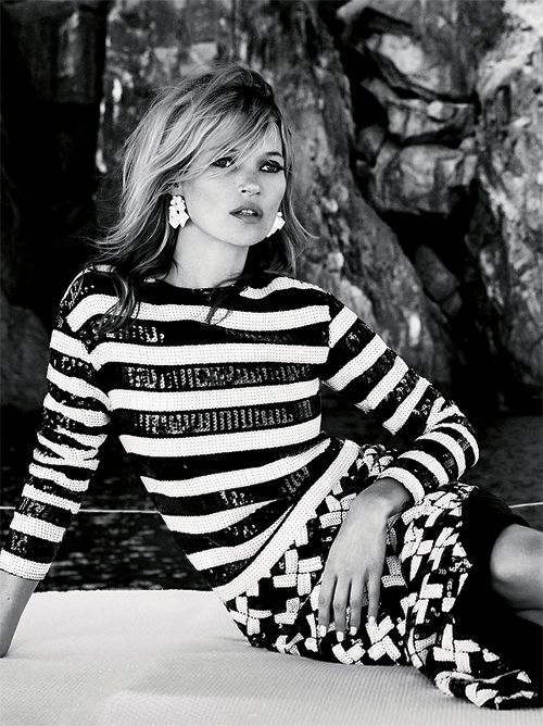 Kate Moss by Patrick Demarchelier for Vogue UK June 2013 - black & white stripes, texture #style #photography