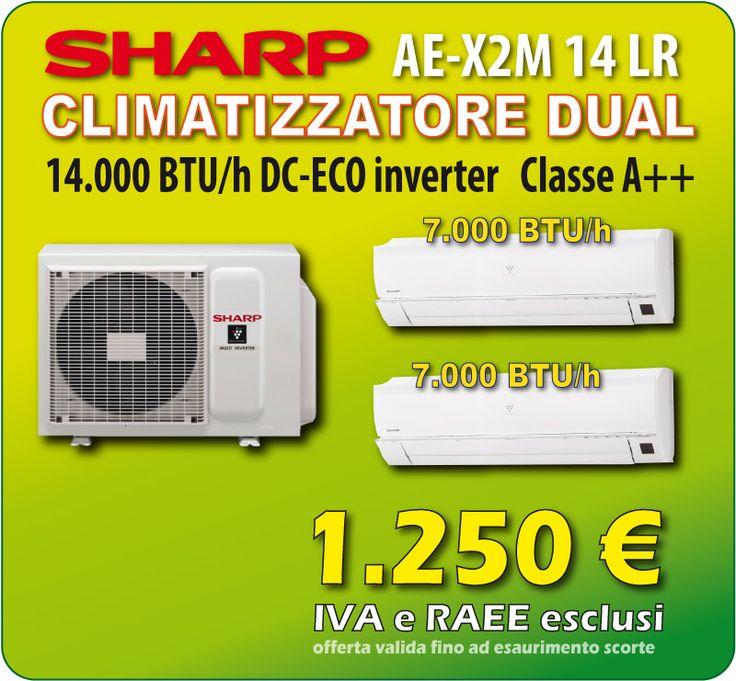 Offerta Climatizzatore Dual split SHARP 7+7 a soli 1.250€  Unità Esterna AE-X2M 14 LR da 14.000 Btu/h,  Tecnologia DC-Eco Inverter Classe A++ , Pompa Di Calore con Gas R410A, 2 unità interne a parete AY-XPC 7JR da 7.000 Btu/h, Sistema di purificazione dell'aria Plasmacluster, Effetto Coanda per distribuzione uniforme dell'aria, Funzione di autopulizia interna tramite gli Ioni, 2 Telecomandi con funzione Full Power e Auto-Sleep.