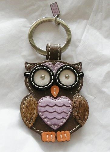 New Coach 92918 Leather Purple Brown Owl Key Fob Keychain Key Ring Fob | eBay