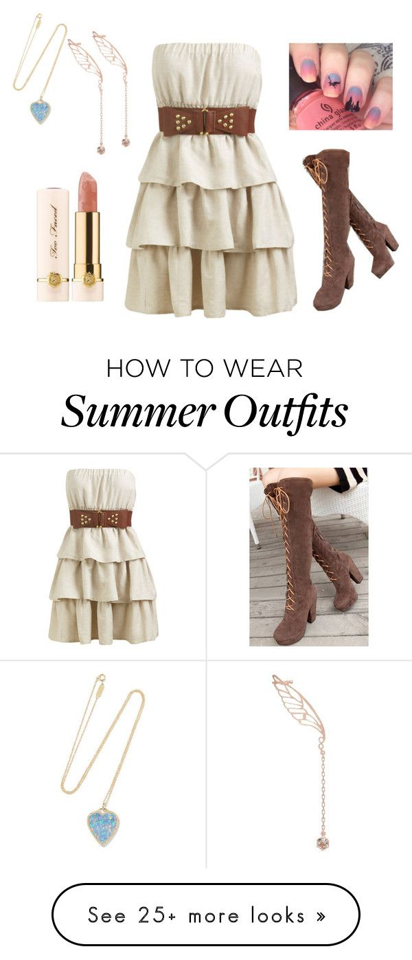 """""""summer outfit 18"""" by starojeda on Polyvore featuring Wet Seal, Jennifer Meyer Jewelry, WithChic, Alex Monroe and Too Faced Cosmetics"""