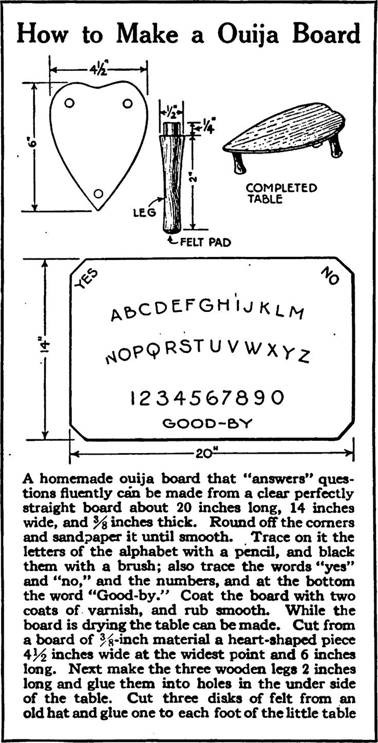 How to make your own ouija board. From Popular Science Monthly, 1920. Crucial: The Care & Feeding of a Spirit Board.