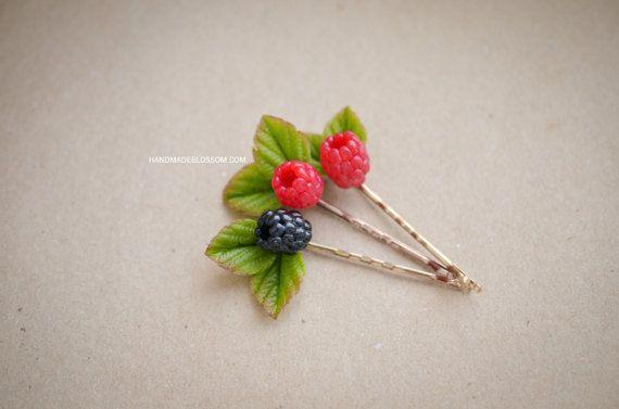 Handmade berries bobby pin Handmade berry by HandMadeBlossom
