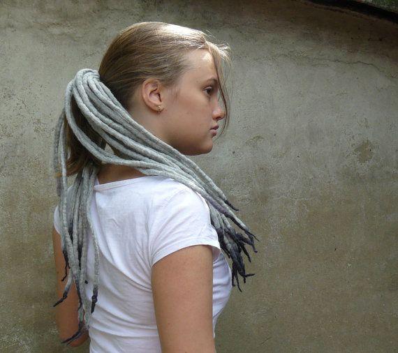 Eco Tribal hair dreads, felted wool dread falls (dreadfall, dreadlock) grey, gray. Natural wool tribal dance accent dreads. Gray wool dread.