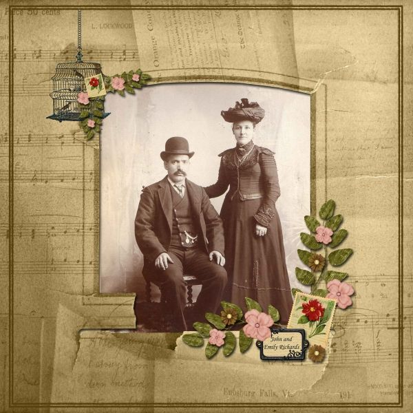 John and Emily Richards ~ Traditionally designed heritage digi page.