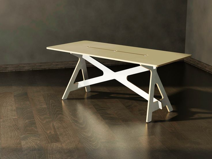 4-piece made RTA desk for Número, CNC made from plywood and plastic laminate, no tools requiered / Escritorio RTA para proyecto Número.Cuatro piezas componentes permiten en tres ensambles armar un escritorio o mesa de trabajo perfecta, liviana y desarmab…