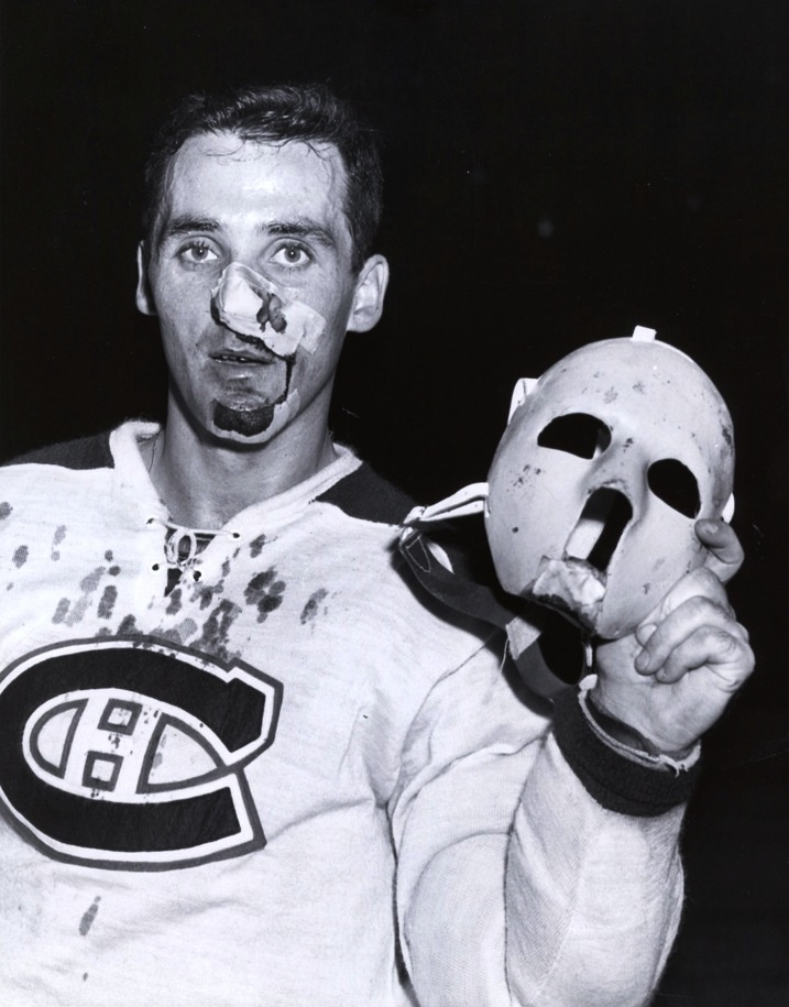 On 11/1/1959 Jacques Plante goaltender of the Montreal Canadiens suffered a broken nose from a shot by NY Ranger Andy Bathgate just 3 minutes into the game. Plante returned to the game wearing homemade goalie mask he had been practicing with, Montreal coach Toe Blake was upset with Plante & his mask but Plante refused to play the rest of the game without it. The Canadiens ended up winning 3-1.