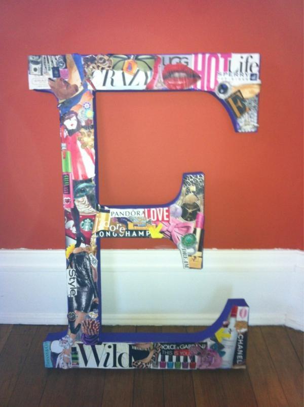 magazine collaged on large cardboard letter I made!