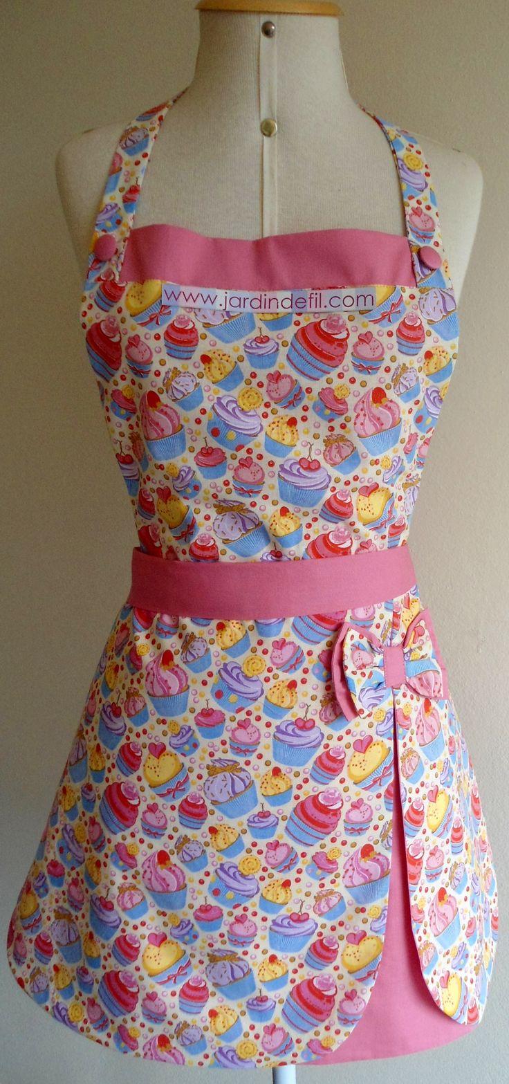 Avental Cupcake, forrado em tecido 100% algodão