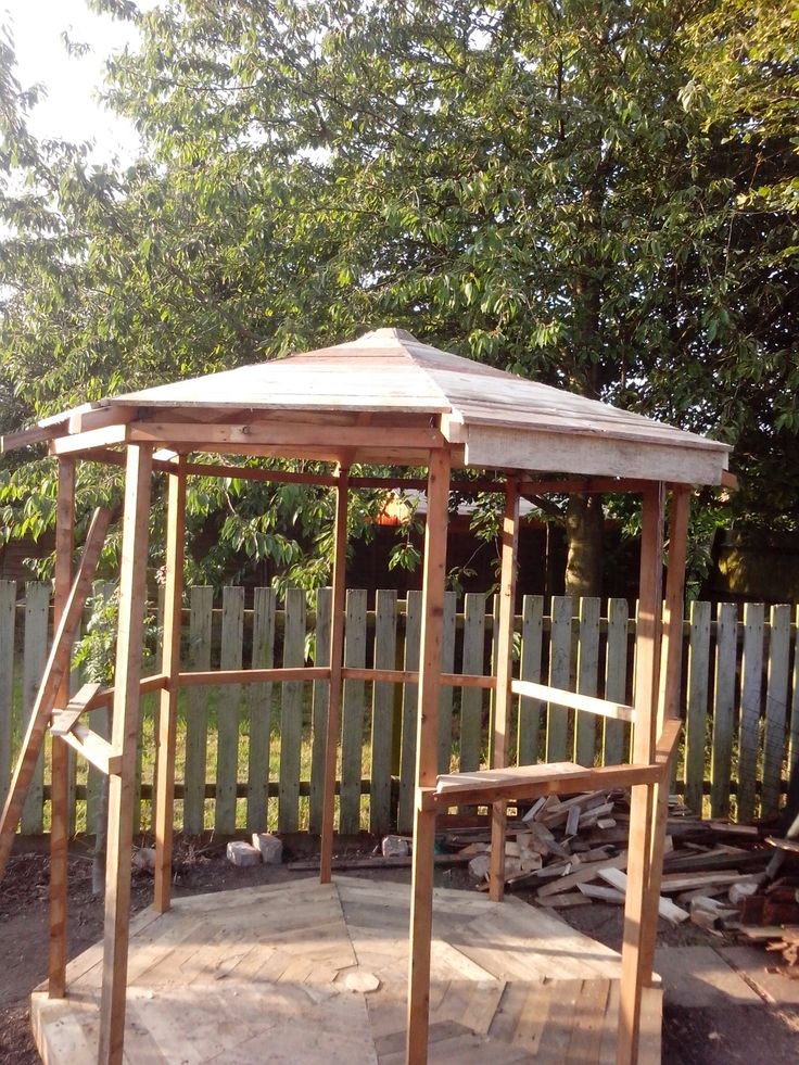 Pin by alma rodriguez on patio ideas diy pinterest for Wood pallet gazebo