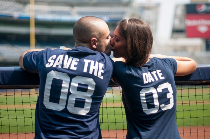 Baseball jerseys instead with our wedding date- 08 09. Awesome engagement picture ideas!