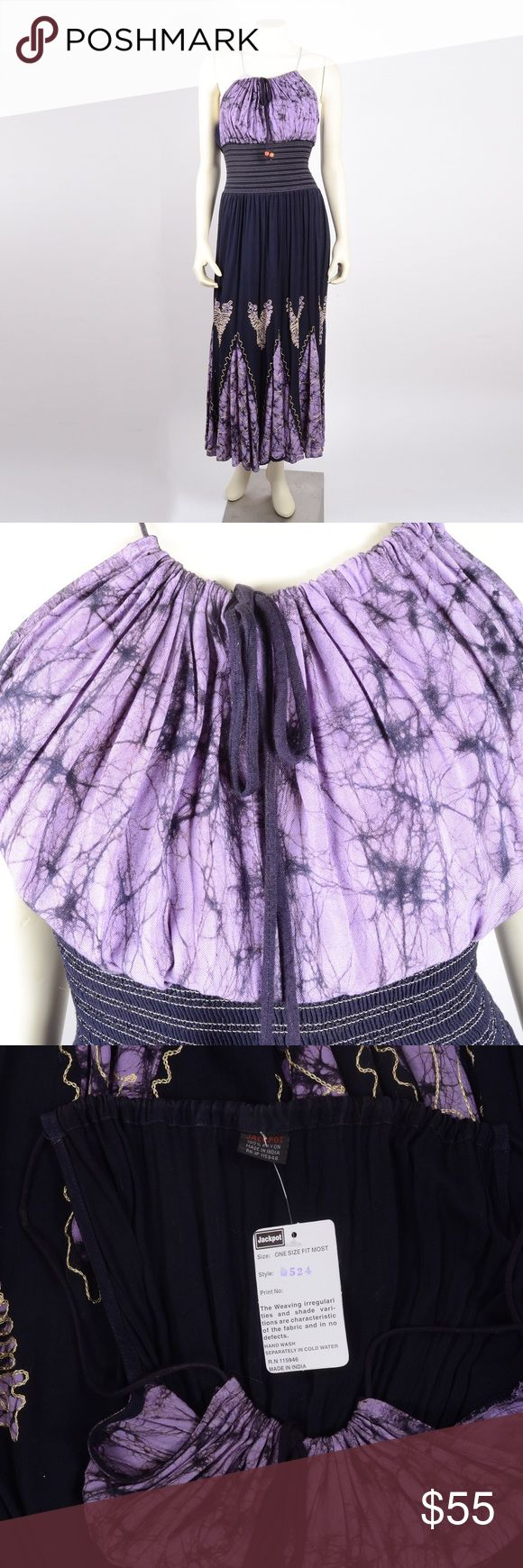 """Purple boho maxi dress Hey festival girls this is the perfect summer dress. Adjustable bodice in tie dye purple features sexy spaghetti straps. 57"""" to floor at longest in back, 53"""" at shortest in front. Dresses Maxi"""