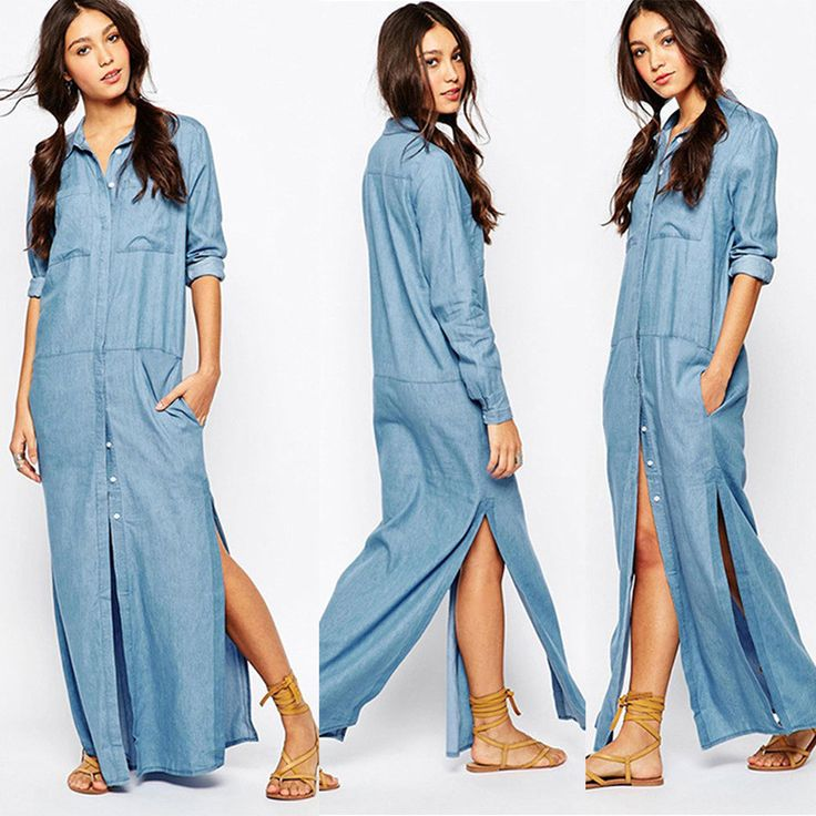 Fashion Laple Button Split Denim Shirt Long Dress