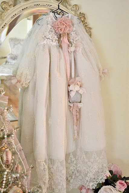 Beautiful gown to display in a little girl's room...shabby vintage love <3