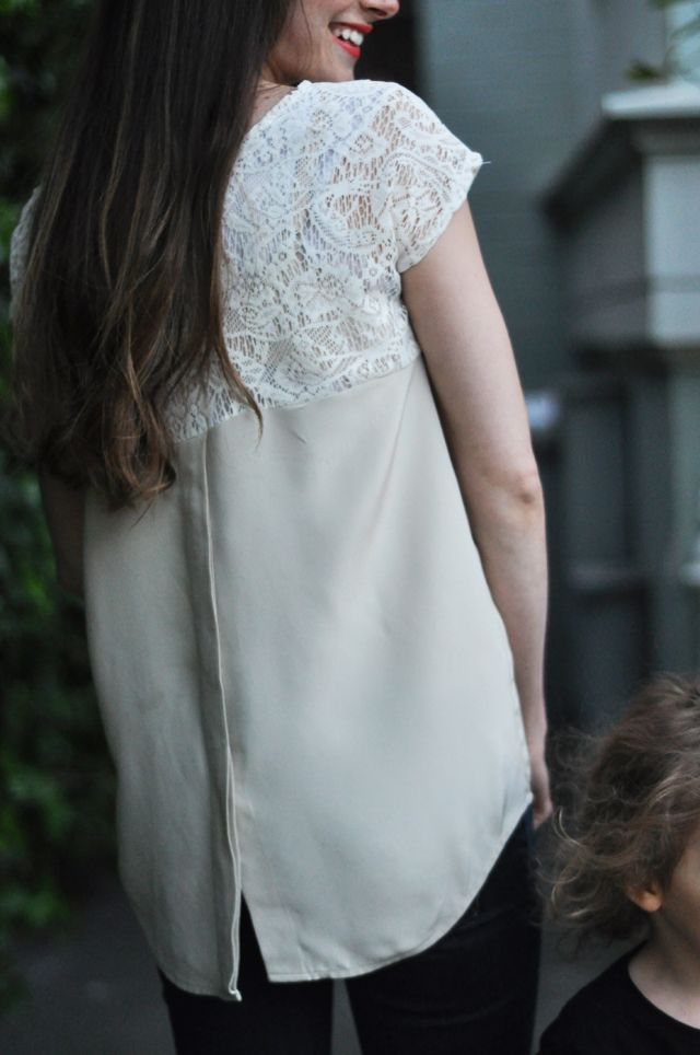 silk and lace blocked top--refashion a button-up!