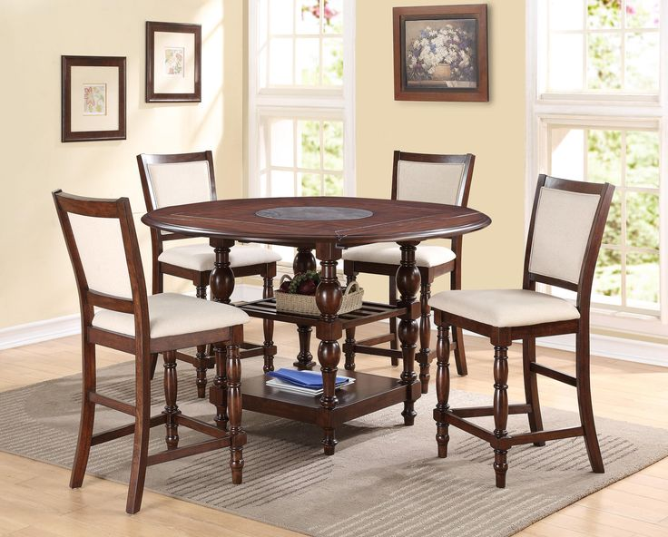 CROWN MARK TREMONT FIVE PIECE COUNTER HEIGHT DINING SET WITH BLUESTONE LAZY  SUSAN AT ROYAL FURNITURE