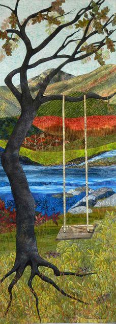 """Waiting"" by Eileen Williams;  landscape art quilt."