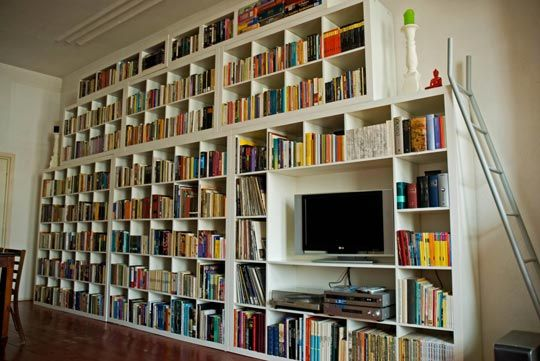 Inspiration:  The Mega-IKEA Stacked Shelving System expedit bookcases, with expedit TV storage system