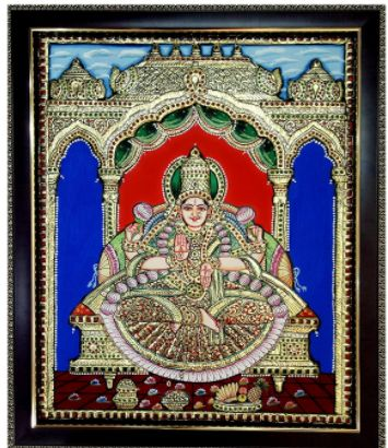 Lakshmi Tanjore Painting Mantap Style (40 cms X 5 cms X 50 cms)