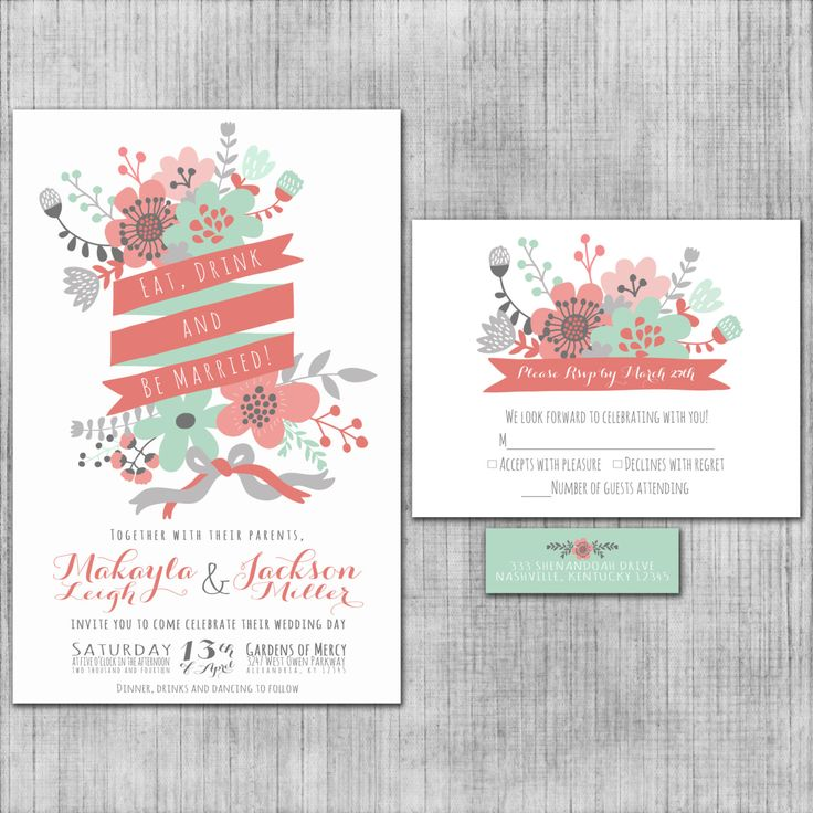 Unique Wedding Invitations Eat Drink and Be by InvitingMoments