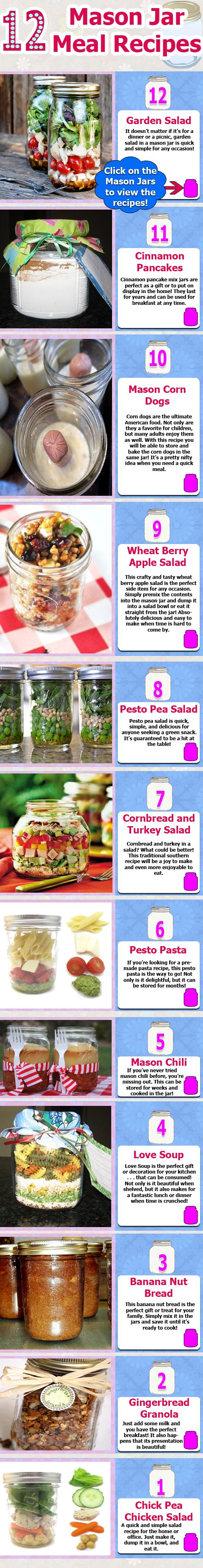 Great ideas!~Holiday Gift, Fun Recipe, Gift Ideas, Meals Recipe, Mason Jars Meals, Mason Jars Food, 12 Mason, Mason Jars Recipe, Camps Food