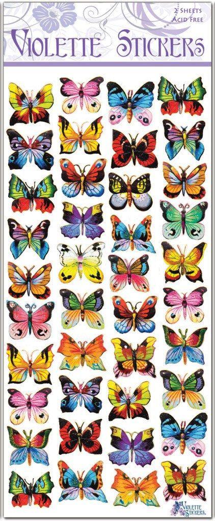 Pegatinas de mariposas pintadas para fabricar 2 hojas