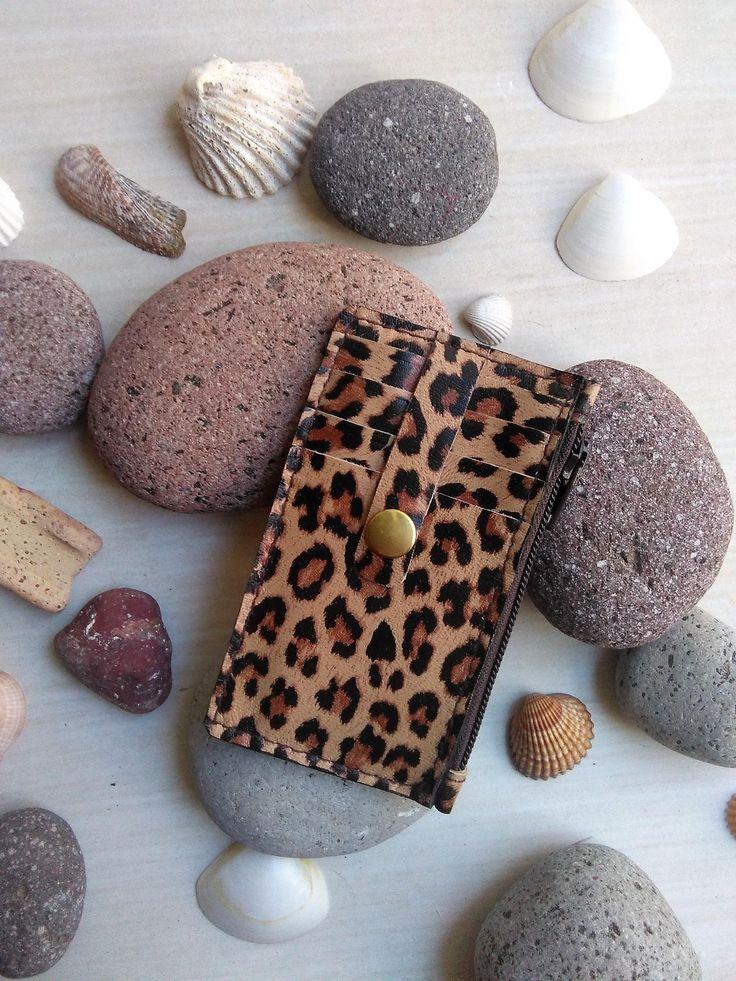 Mini Cartera Monedero con estampado Leopardo, Tarjetero con monedero de cuero leopardo, Tarjetero de cuero leopardo de NURIMUSHOP en Etsy