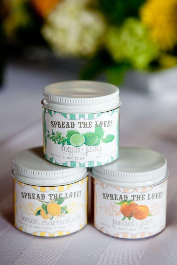 Homemade jam wedding favors