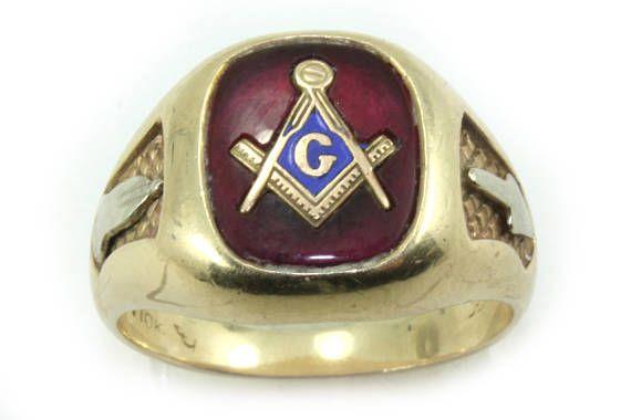 Vintage Gold Ring Signet Ring 10K Yellow Gold Mason Ring