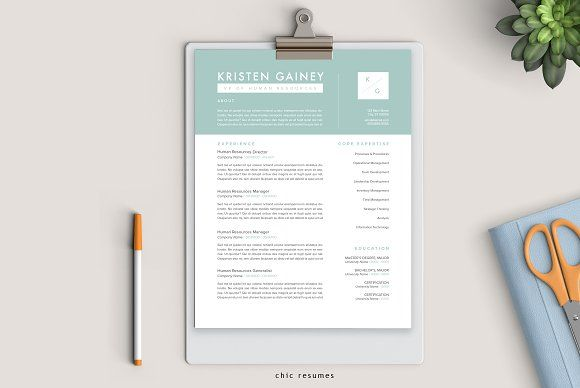 3 Page Modern Resume Template By Chic Resumes On Creativemarket