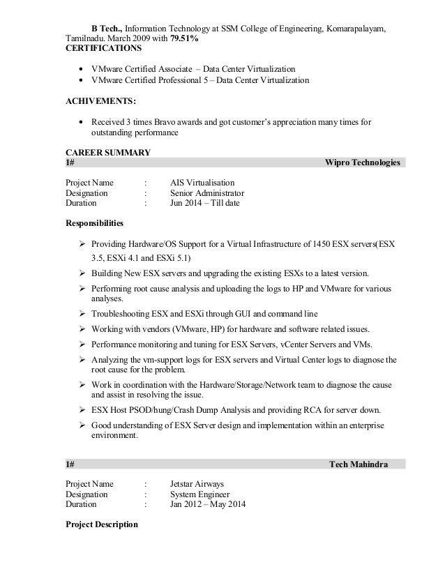 Vmware Resume Teacher Resume Examples Resume Resume Examples