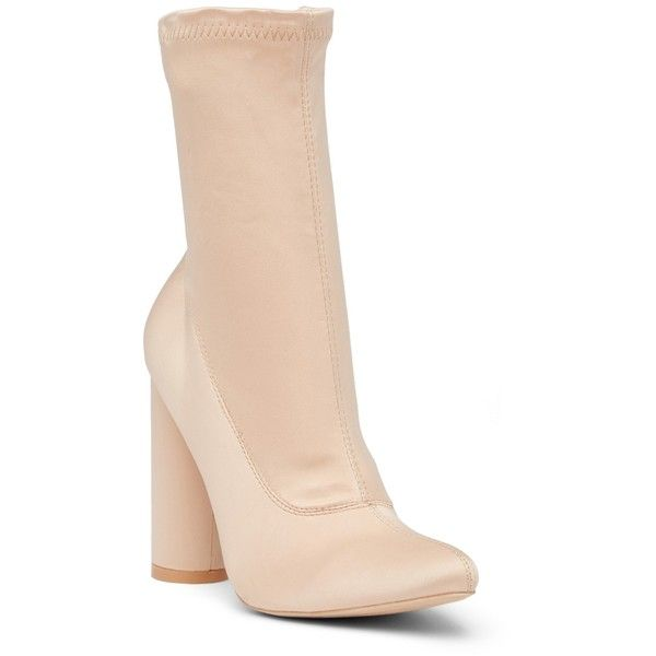 Cape Robbin Paw Bootie (1,920 INR) ❤ liked on Polyvore featuring shoes, boots, ankle booties, nude, almond toe boots, nude boots, bootie boots, side zip booties and side zipper boots