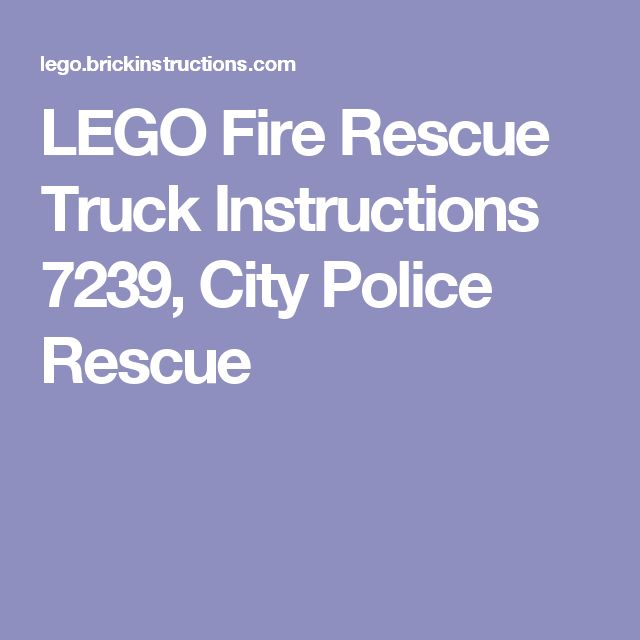 LEGO Fire Rescue Truck Instructions 7239, City Police Rescue
