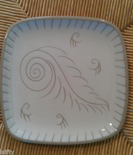 Set Of 6 Vintage Glidden Pottery Feather Swirl Dinner Ware