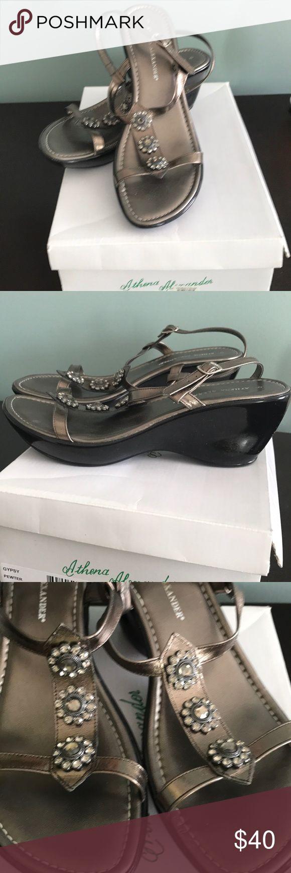 Althena Alexander pewter sandals Althena Alexander Gypsy pewter metallic jeweled wedge sandals. Size 9M. Never worn. Athena Alexander Shoes Sandals