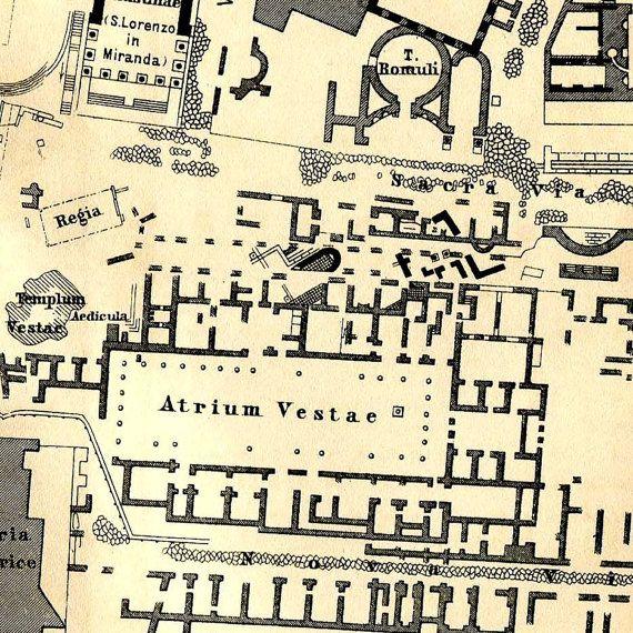 Roman Forum Floor Plan Antique Print 1890 Baedeker Ancient
