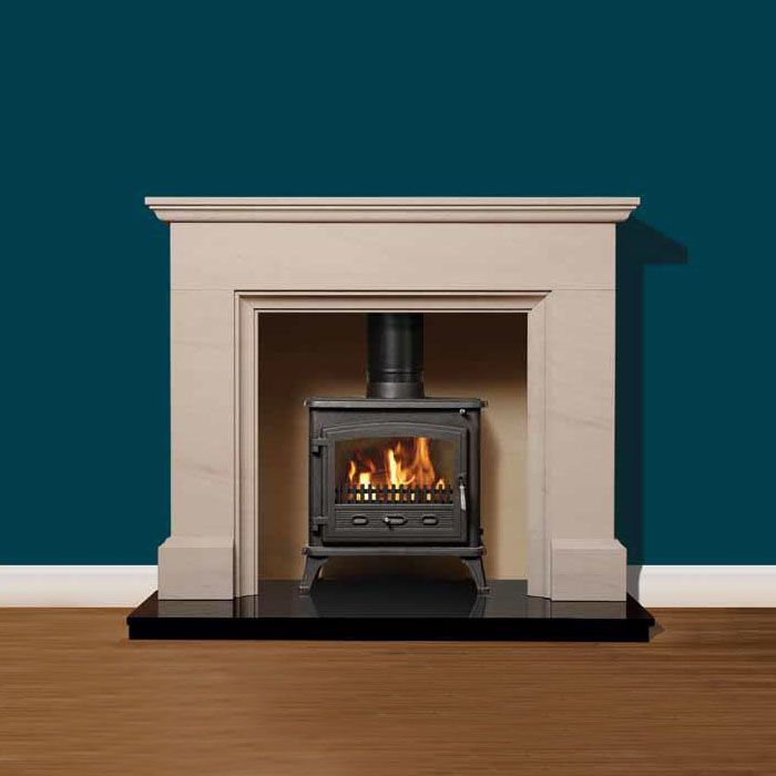 Brockenhurst Material: Portuguese Limestone Overall Height: 1170mm / 46 Overal Width: 1370mm / 54″ Shelf Depth: 195mm / 7.5″ Description: Portuguese limestone Brockenhurst surround with large natural fireboard chamber, granite hearths & Multifuel stove. For ... Read More
