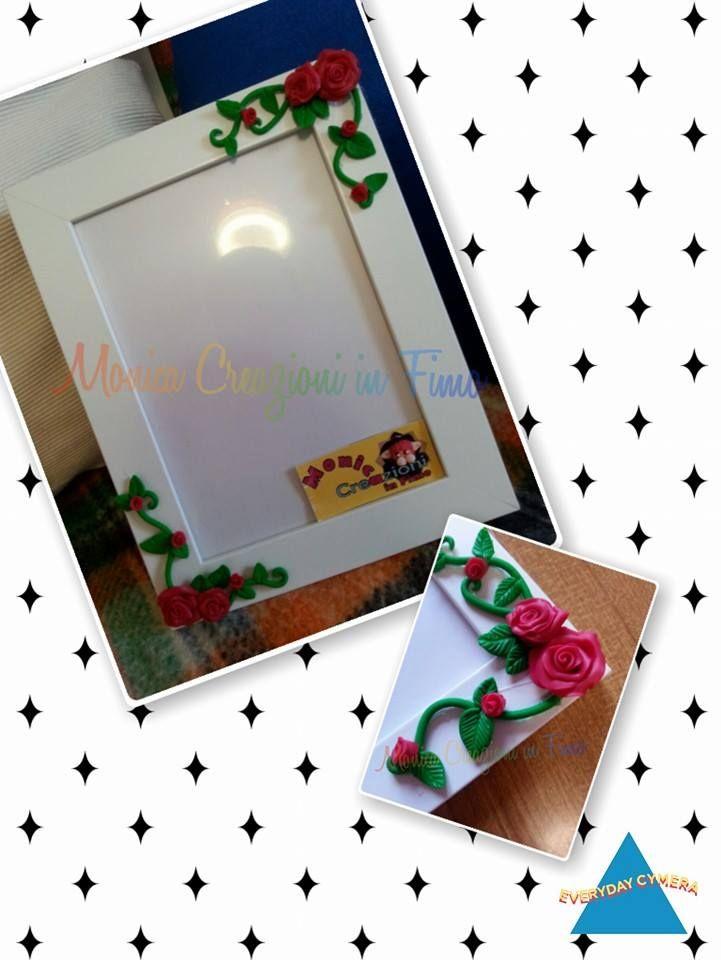 Cornice in legno decorata con rose in pasta FIMO