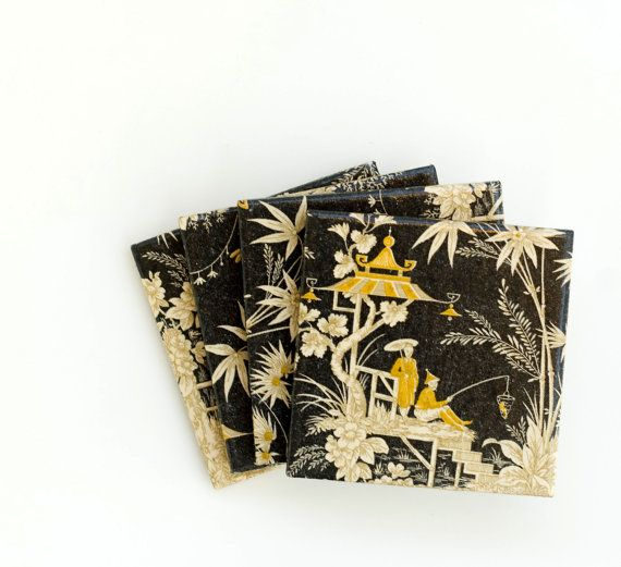 Asian Coasters Black Yellow and Gold Ceramic Tile by mayagencic, $25.00