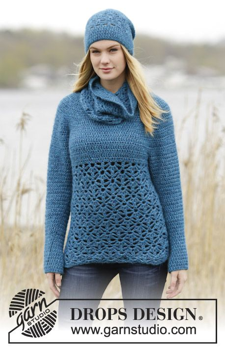 "Free Pattern @ Drops Design - Lakeside - Crochet jumper with trebles, lace pattern and round yoke, worked top down in ""Air""."